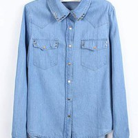 Rivet Pocket Denim Shirt S010095