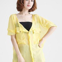 Yellow Bat Sleeve Chiffon Shirt S010092