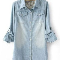 Denim Loose Long Sleeved Shirt S010086