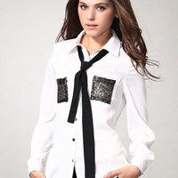 White Sequins Pocket Long Sleeve Shirt S010077