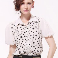 White Printed Puff Sleeve Shirt S010071
