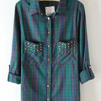 Inlaid Metal Rivets Pocket Plaid Shirt S010148