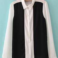 Black And White Stitching Shirts S010124