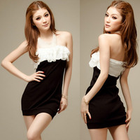 Women&#x27;s Strapless Chiffon Tiered Top Party Club Mini Dress