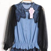 Black Lace Stitching Denim Shirt S010186