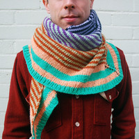 BESPOKE Striped Giant Triangular Knit Scarf