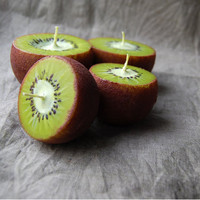 Kiwi Candles Hand Painted Ball Candles Set Of 3 Home Decor