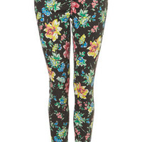 MOTO Floral Printed Leigh - Leigh Skinny - Jeans  - Apparel - Topshop USA