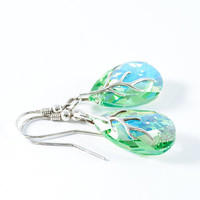 Green Almond Shape Swarovski Crystal Summer Chunky Earrings August Birthstone Jewelry