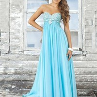 A-line Strapless Sweetheart Empire Beaded Bodice Long Chiffon Prom Dress from dressesinuk