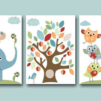 "Childrens art Kids Wall Art Baby Room Decor Baby Boy Nursery print set of 3 11"" x 14"" elephant turtle owl decor birds blue giraffe"