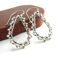Picot Edge Lace Sterling Silver Teardrop Hoop Earrings Wire Wrapped Metal Earrings