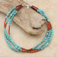 Silver Turquoise and Sponge Coral 3-strand Necklace (USA)