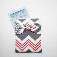 iPad Mini, Kindle, Nook, eReader Case - Gray and Hot Pink Funky Chevron Stripe with Bow - Padded