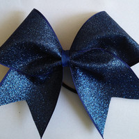 Sapphire Blue Glitter Cheer Bow Hair Bow Cheerleading