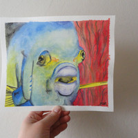 Angel Fish Watercolour - affordable art - Nautical - Samiamart