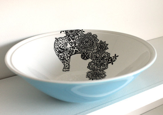 Pipe Smokin' Leopard bowl by yvonneellen on Etsy