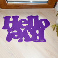 Custom door mat. Hello and bye! Choose the font and color.