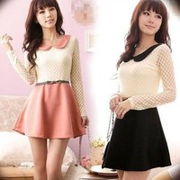 black or pink lace dress with collar