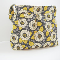Gray Pleated Bag, Pleated Handbag, Pleated Purse, Bag in Mod Grey and Yellow Floral Print