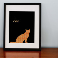 tabby Cat Silhouette Personalized Print by RomanticaHome on Etsy