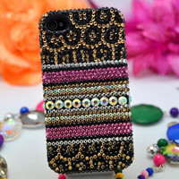 leopard iphone case iphone 4 case iphone 4 iPhone 5 case bling iphone 4s case bling iphone case bling iphone 4 cover crystal iphone 4 case
