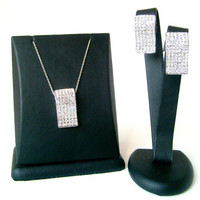 Art deco rhodium plated wedding jewelry set 925 sterling silver chain bridal jewelry set bridesmaid gifts