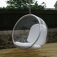 Amazon.com: Eero Aarnio Bubble Chair With White Seat Cushion.: Home &amp; Kitchen