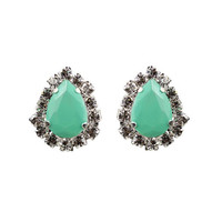Mint Green Tear Drop Stud Earrings