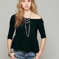 Free People Womens We The Free Solid Peplum Tee -