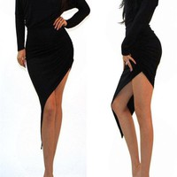 Sexy Black Ruched Wrap s...