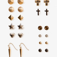 Dome & Spike Earring Set