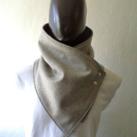Men scarf. Men cowl,Wide, Light flecked grey wool with metalic snaps . Trendy, modern, chunky  and cozy.