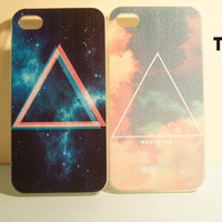 TuT TuT Fashion  Cosmic Galaxy Triangle Iphone4/4s Case