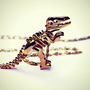 gold dinosaur necklace, T-rex necklace, dinosaur skeleton, skeleton ne