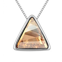 Magic Triangle Beige Crystal Necklace
