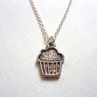 Cupcake Necklace, Antique Silver, Food Jewelry - Simple Everyday Jewelry