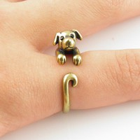 Gold Puppy - Animal Wrap Ring