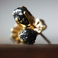 Rough Black Diamond Stud Earrings by LexLuxe on Etsy