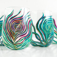 Regal Peacock Stemless Wine Glasses--4 Piece Collection