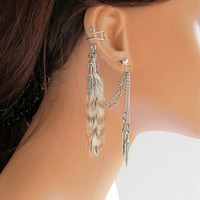 Ear Cuff Grizzly Feather Double Chain