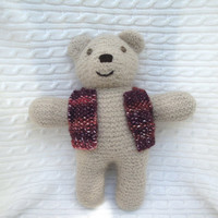 Hand Knit Bear Brown Bear in Vest, Hand Knit Felted Bear, Soft Huggable Waldorf Toy or Home