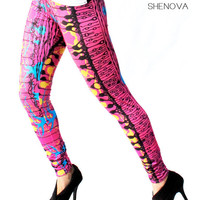 Neuroscience Hot Nerd Leggings Trippy Neuron Retina Print Science Geek Chic