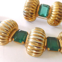 Vintage Boucher Design Emerald Gold Mexico Bracelet Brooch Set Art Deco Fine Jewelry
