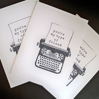 Vintage Typewriter Note Cards, Set of 5 Blank Note Cards, Hand Stamped, Handmade, Greeting Cards