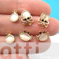Small Crab Squid Sea Animal Stud Earring 6 Piece Set with Pearl Detail