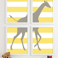 Childrens Art for Kids Wall Art, Jungle Baby Nursery Decor, Safari Animal Nursery Art, Giraffe Nursery Wall Art Playroom Decor - Four 11x14