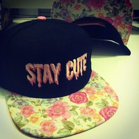 STAY CUTE PINK FLORAL SNAPBACK from TOKYO HARDCORE