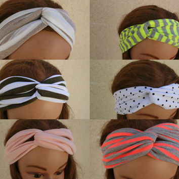 Turban Headband Fabric Headband Workout Twist Stretchy Hair Bands Women Spring Fashion-By PiYOYO