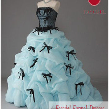 New Blue Quinceanera Pageant Formal Prom Wedding dress Color Accented Ball Gown